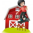 A boy skating in front of the red barnhouse — Stock Vector