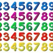 Stock Vector: Numbers in different colors