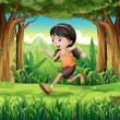 A forest with a young girl running — Stock Vector