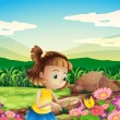A girl catching the butterfly at the garden — Stock Vector