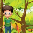 Forest with boy wearing eyeglass — Stock Vector #30987815