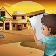 Vector de stock : A boy holding an empty paper at the desert