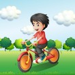 A happy young man biking — Stock Vector