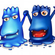 Happy blue monsters in one team — Stock Vector