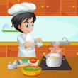 Stock Vector: A male chef cooking at the kitchen