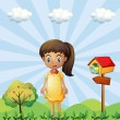 A young girl with a yellow dress standing near the pethouse — Stock Vector