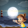 A girl taking photos at the beach — Stock Vector