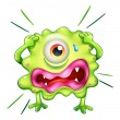 Stock Vector: Green monster in frustration