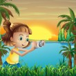 A young photographer at the riverbank — Stock Vector