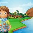 A young boy at the riverbank holding a plastic full of fishes — Stock Vector