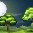 A clean and green forest under the bright fullmoon — Stock Vector #30988375