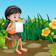 Girl studying at garden — Stock Vector #30988411
