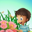A boy in the garden with flowers and dragonflies — Stock Vector