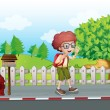 A boy with a backpack walking near the mailbox — Stock Vector #30988777