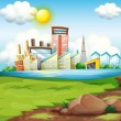Factories near the river — Stock Vector