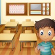 Stock Vector: A young boy inside the classroom