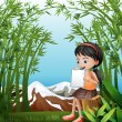 Stock Vector: A girl sitting above a stump at the bamboo forest