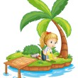 Stock Vector: A sad girl in the island watching the water
