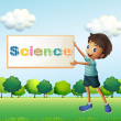 Stock Vector: Boy holding science signage