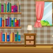 A girl inside the house with a collection of books — Stock Vector