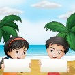 Two adorable kids at the beach with empty signboards — Stock Vector
