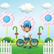 Stock Vector: A happy boy at the candyland with his bike