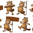 A group of playful beavers with empty signboards — Stock Vector