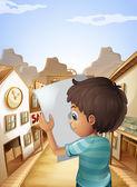 男孩抱着空张纸 — 图库矢量图片