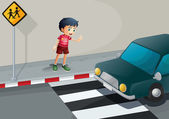 A boy stopping the car — Stock Vector