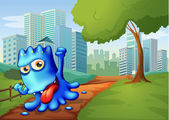 A blue monster in the city — Stock Vector