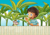 A boy and his monkey near the fence — Stock Vector