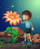 A young boy beside the giant flower — Stock Vector