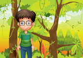 A forest with a boy wearing an eyeglass — Stock Vector