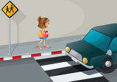 A small girl walking along the street with a shoulder bag — Stock Vector