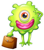 A green monster with an office bag — Stock Vector
