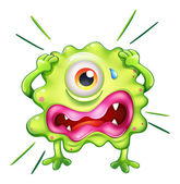 A green monster in frustration — Stock Vector