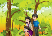 A forest with a family — Stock Vector