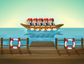 A boat with men — Stock Vector