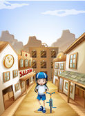 A girl standing in the middle of the saloon bars with her bike — Stockvektor