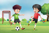 Two boys playing soccer near the park — Stock Vector