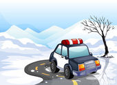 A patrol car in the snowy land — Stock Vector