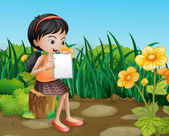 A girl studying at the garden — Stock Vector