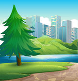 A pine tree beside the river across the tall buildings — Stock Vector