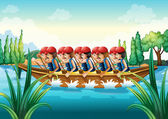 A group of men boating — Stock Vector