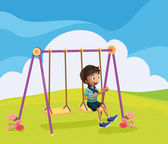 A young boy swinging — Stock Vector