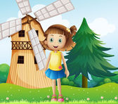 A young girl near the farmhouse with a windmill — Stock Vector