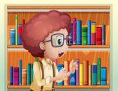 Un ragazzo intelligente, presso la biblioteca — Vettoriale Stock