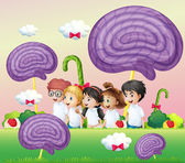 A group of kids at the candyland — Stock Vector
