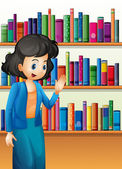 A librarian in front of the bookshelves with books — Stock Vector