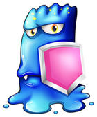 Un monstruo azul un escudo rosa — Vector de stock